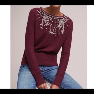 Anthropologie Field Flower Pearled Bow Sweater S